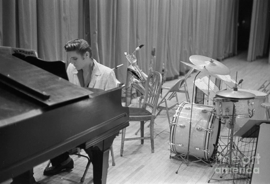 Elvis Presley Photograph - Elvis Presley On Piano Waiting For A Show To Start 1956 by The Harrington Collection