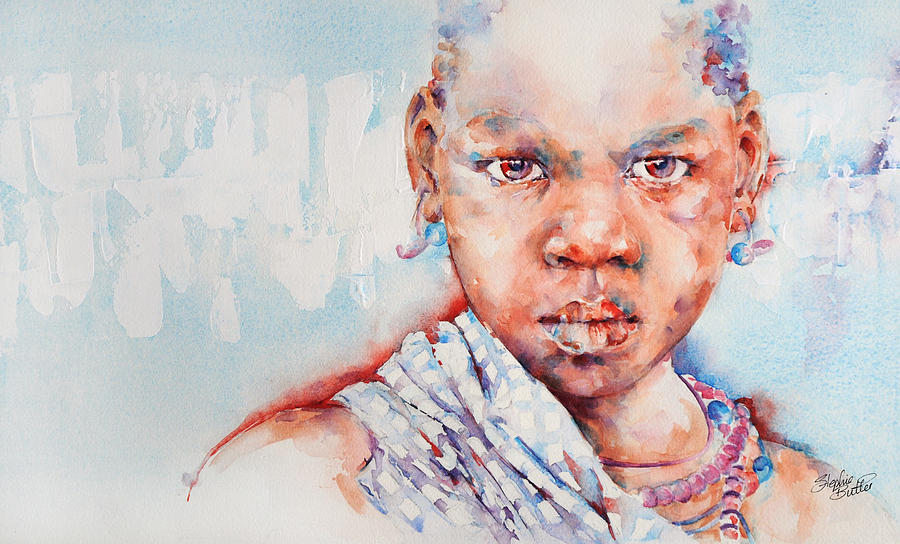 Africa Painting - Embolden - African Portrait by Stephie Butler