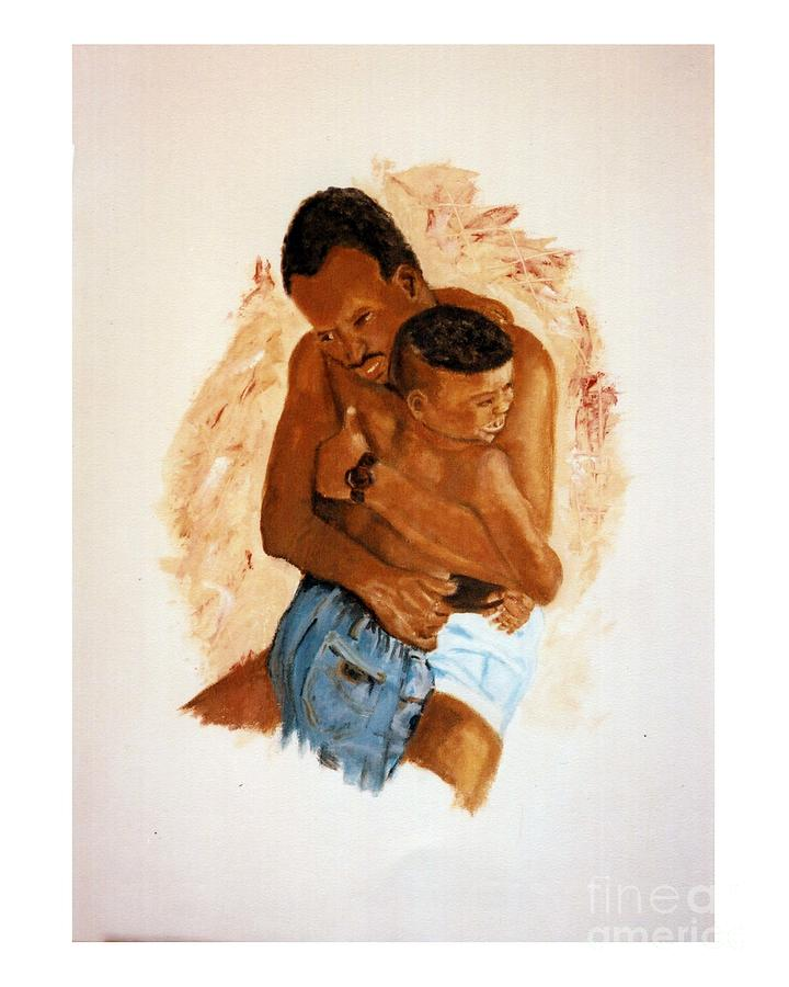 Father & Son Painting - Embrace by JackieO Kelley