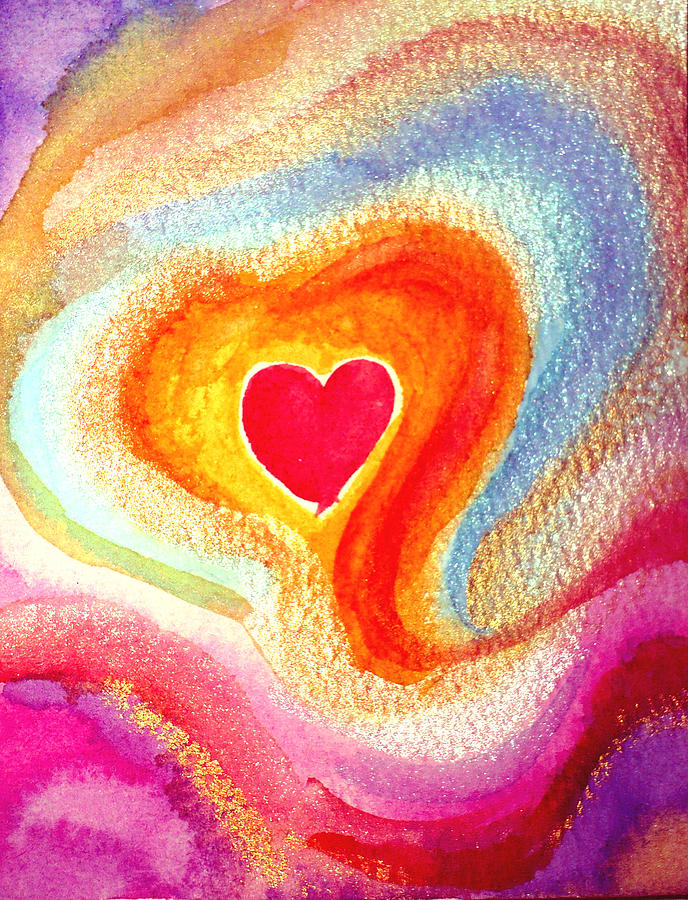 Heart Painting - Embraced By Love by Sandra Yegiazaryan