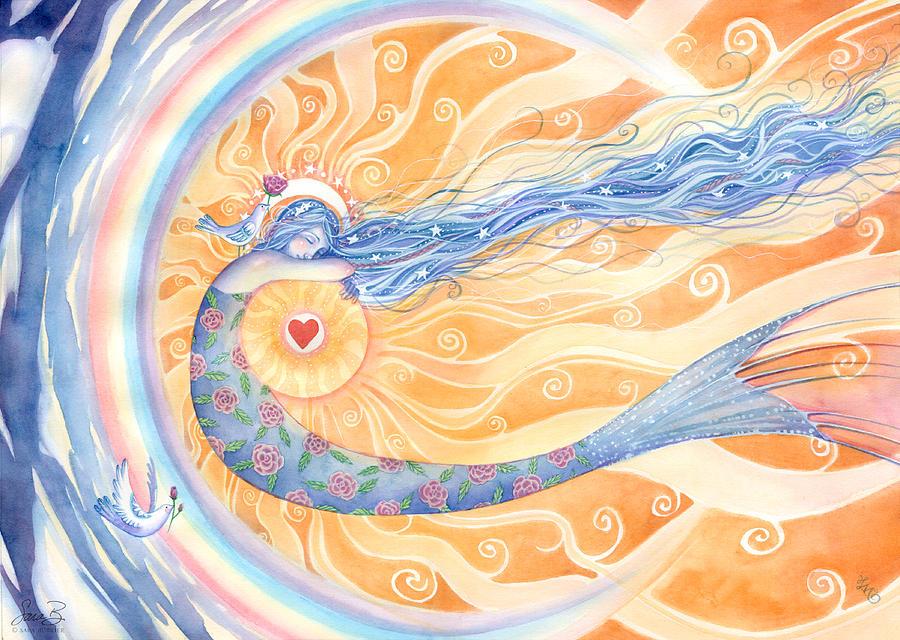 Mermaid Painting - Embracing Love by Sara Burrier