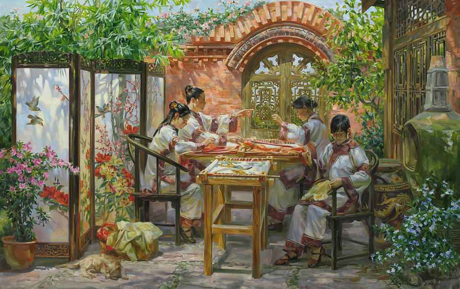 Embroideresses In Sichuan Province Painting