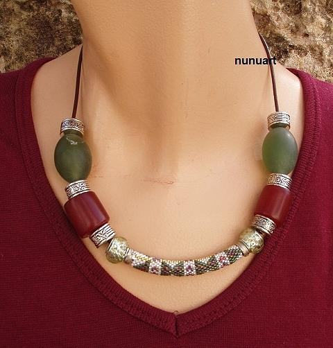 Jade Jewelry - Embroidery Beads With Jade And Metal On Leathe Strip by Nurit Schlomi von-strauss