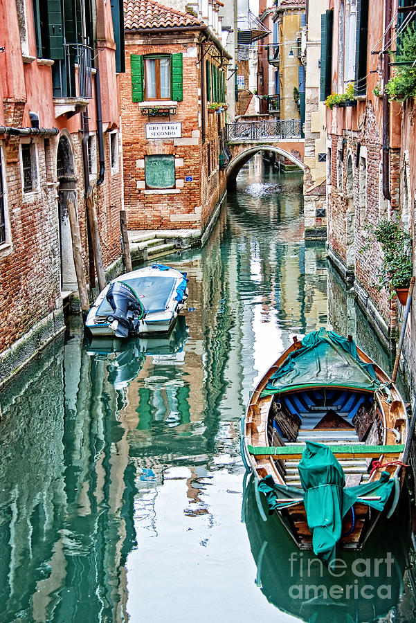 Venice Photograph - Emerald Canal by Delphimages Photo Creations