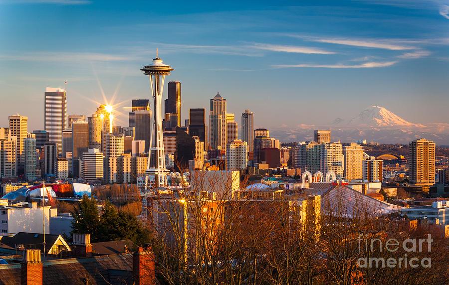 America Photograph - Emerald City Sunset by Inge Johnsson