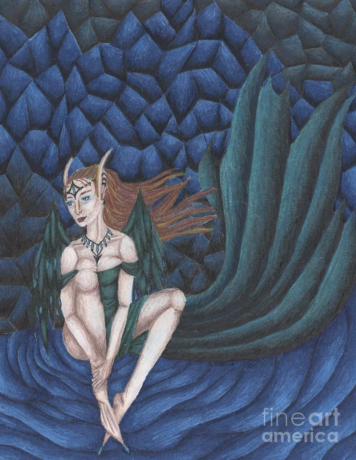 Emerald Drawing - Emerald Eyes by Coriander  Shea
