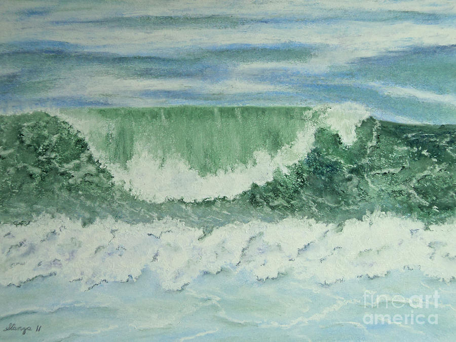 Wave Painting - Emerald Green by Stanza Widen