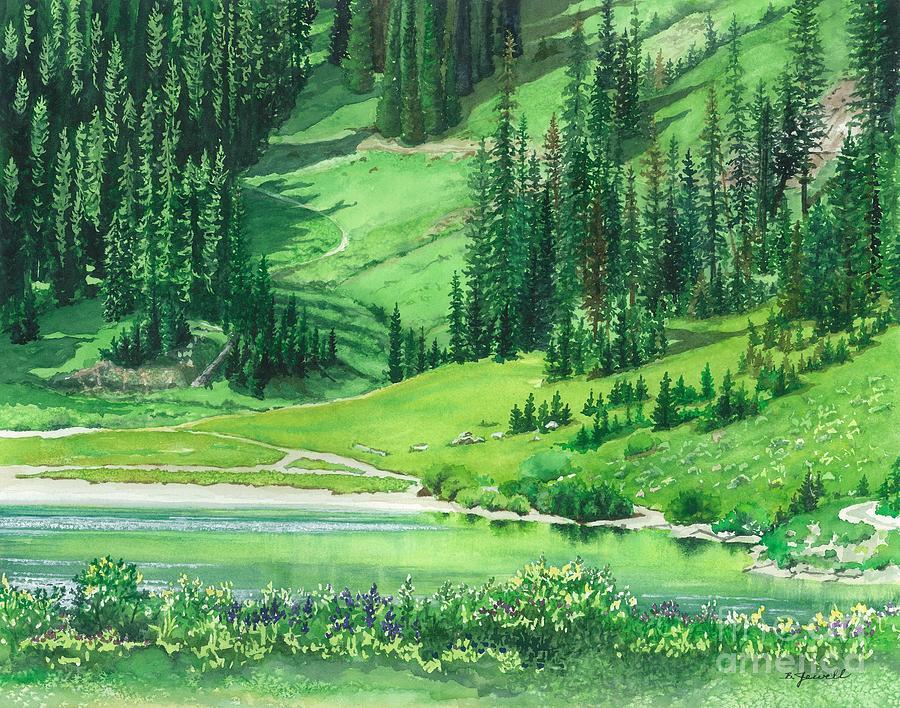 Barbara Jewell Painting - Emerald Lake by Barbara Jewell