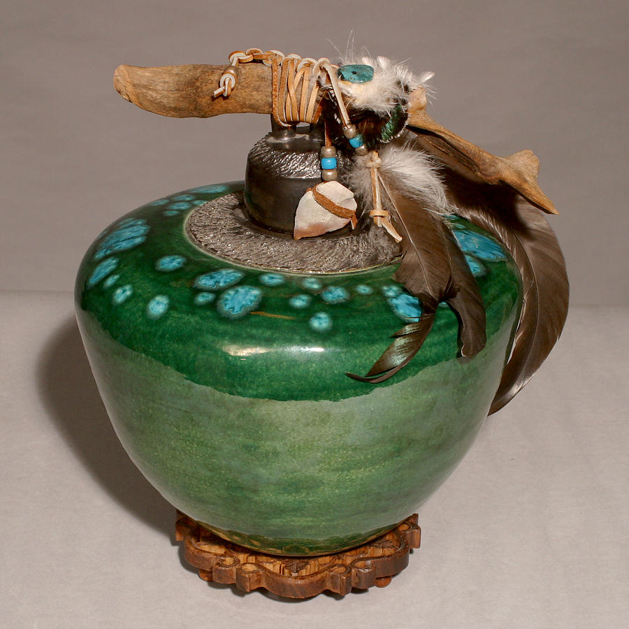 Ceramic Ceramic Art - Emerald Wave by Beth Gramith