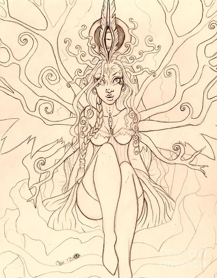 Sketch Drawing - Emergence Sketch by Coriander  Shea