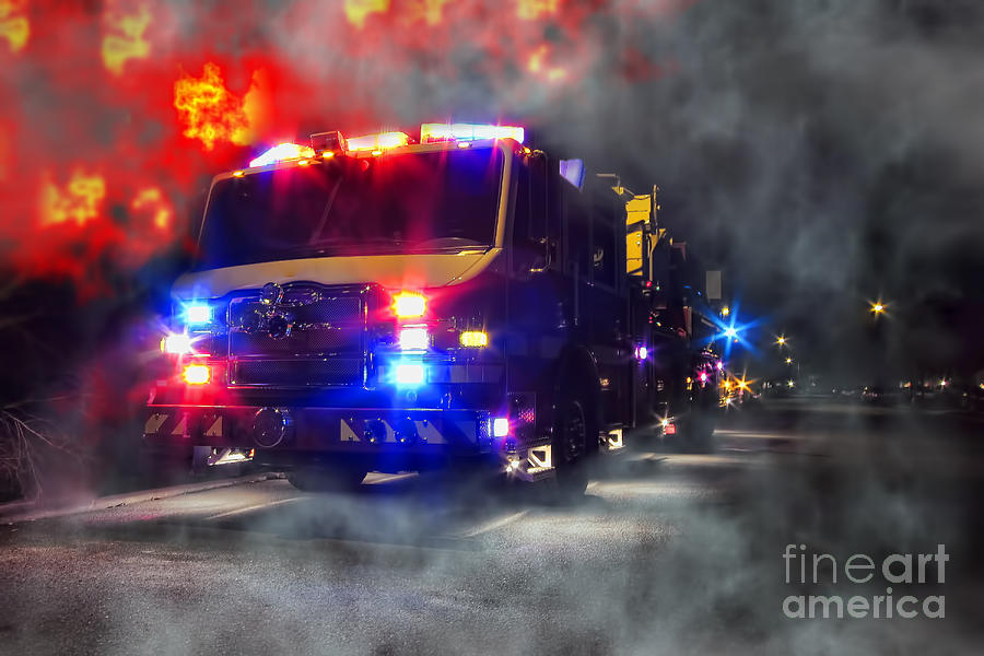 Fire Photograph - Emergency by Olivier Le Queinec