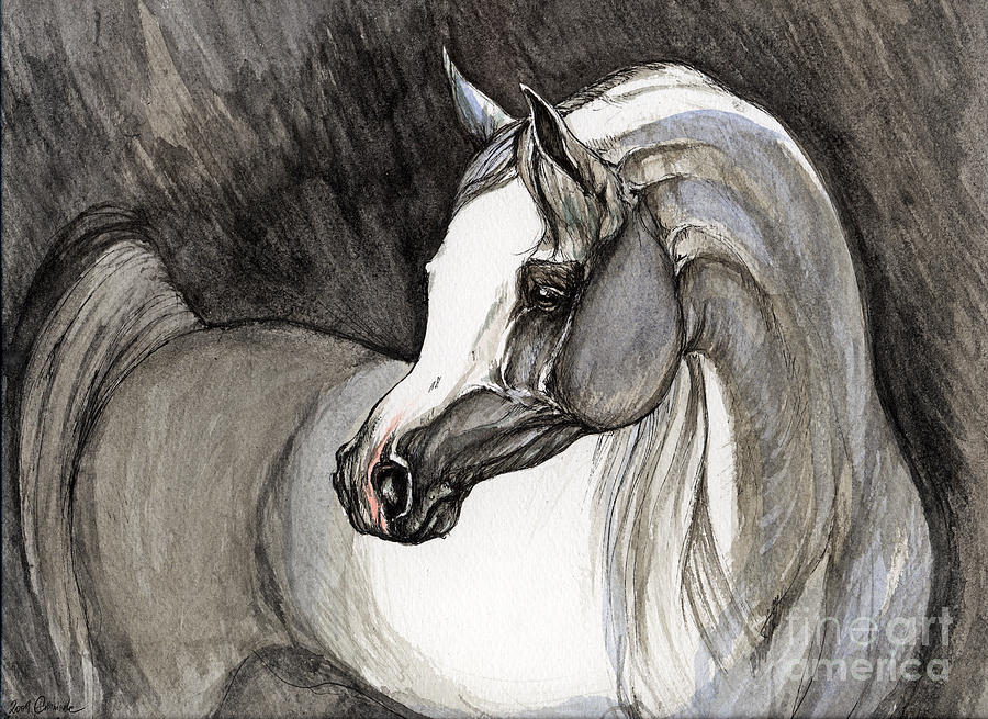Grey Horse Painting - Emerging From The Darkness by Angel  Tarantella