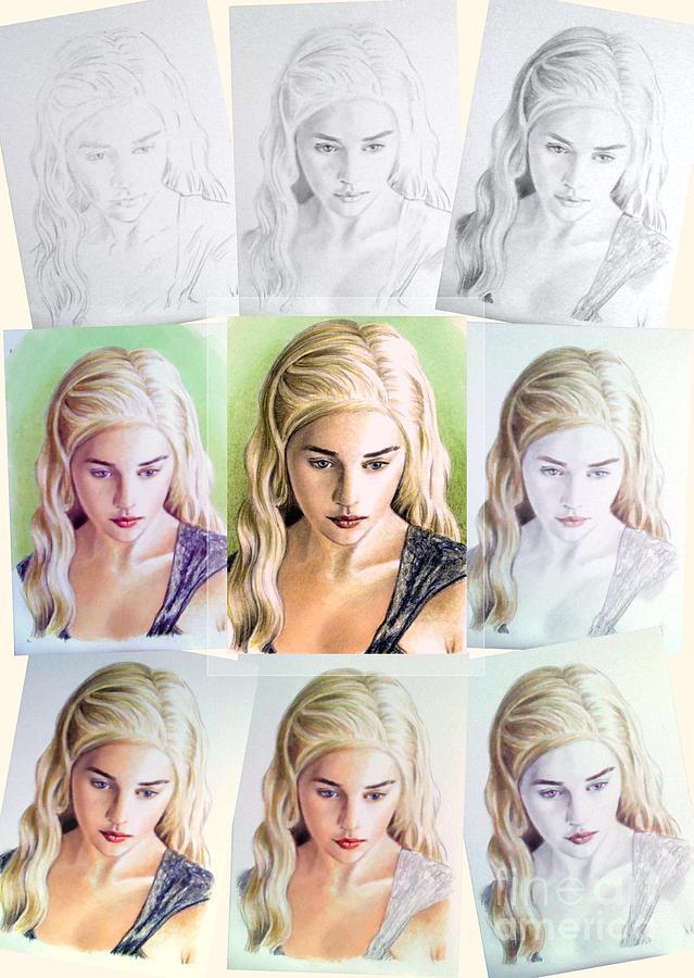 Daenerys Targaryen Drawing - Emilia Clarke Miniature Step By Step by Wu Wei