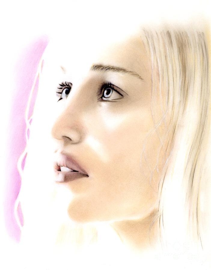 Daenerys Pastel - Emilia Clarke Portrait by Wu Wei