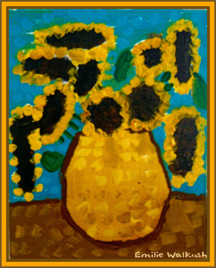 Sun Flowers Mixed Media - Emilie Sunflowers by Ray Tapajna