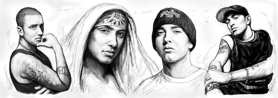 Portraits Painting - Eminem Art Drawing Sketch Poster by Kim Wang