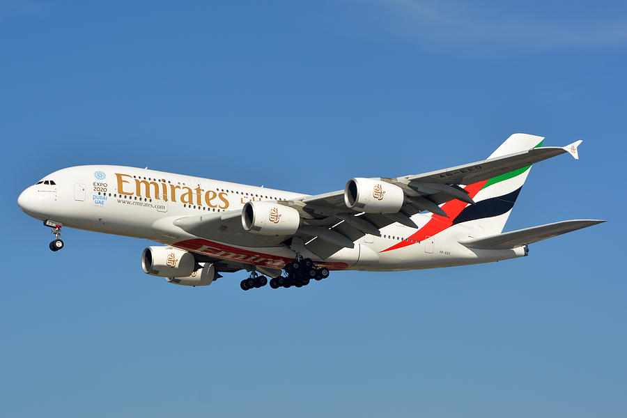 Airplane Photograph - Emirates Airbus A380-861 A6-eeo Los Angeles International Airport January 19 2015 by Brian Lockett