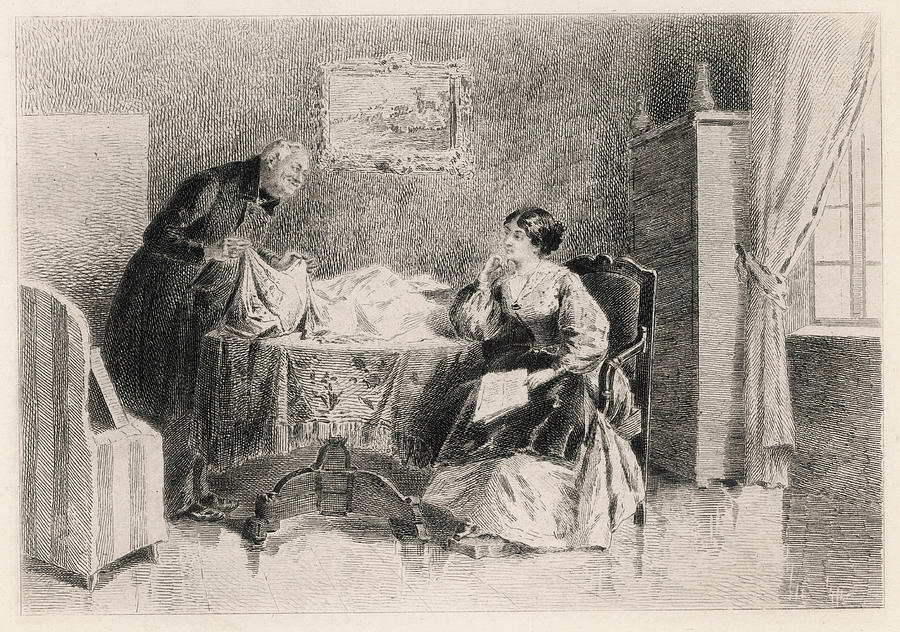 Flaubert Drawing - Emma & Monsieur Lheureux, The by Mary Evans Picture Library