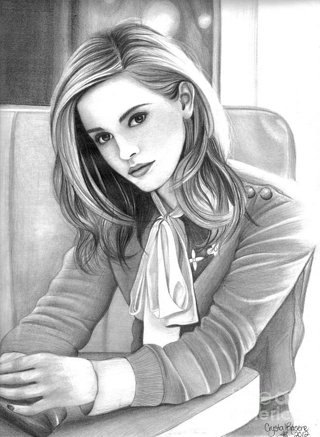 Emma Watson Drawing - Emma Watson by Crystal Rosene
