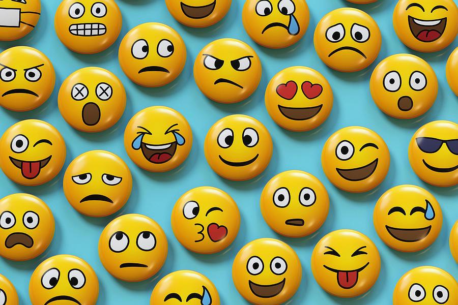 Emoji Badges On Blue Background Photograph by Dimitri Otis