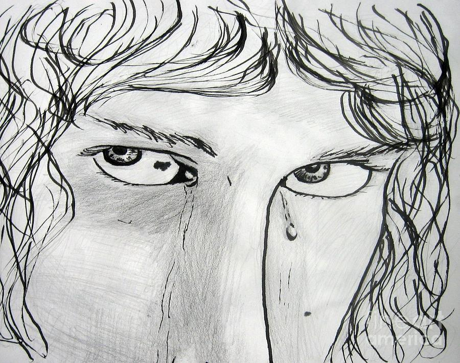 Tears Drawing - Emotional Moment by Zoey Richards