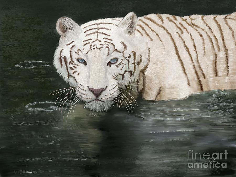 White Tiger Digital Art - Emperor  by Sydne Archambault