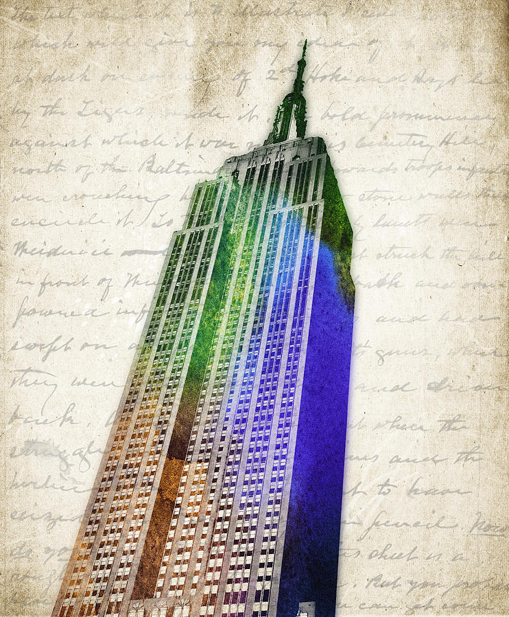 Empire State Building Digital Art - Empire State Building by Aged Pixel