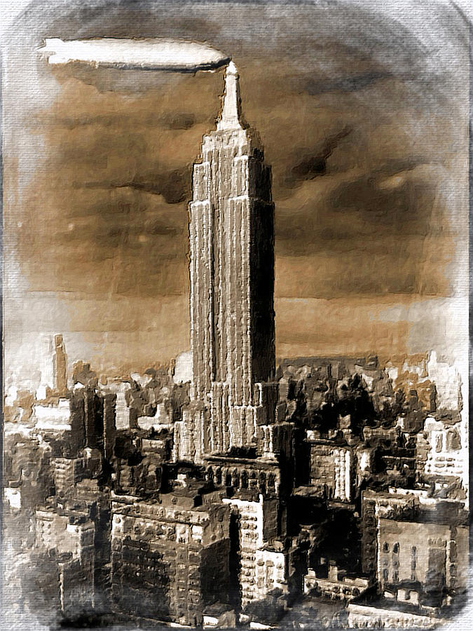 Empire State Building Blimp Docking Sepia Painting by Tony ...