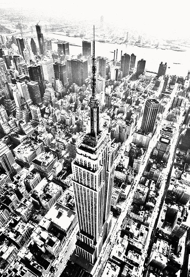 Empire Photograph - Empire State Building Hdr Bw by Kim Lessel