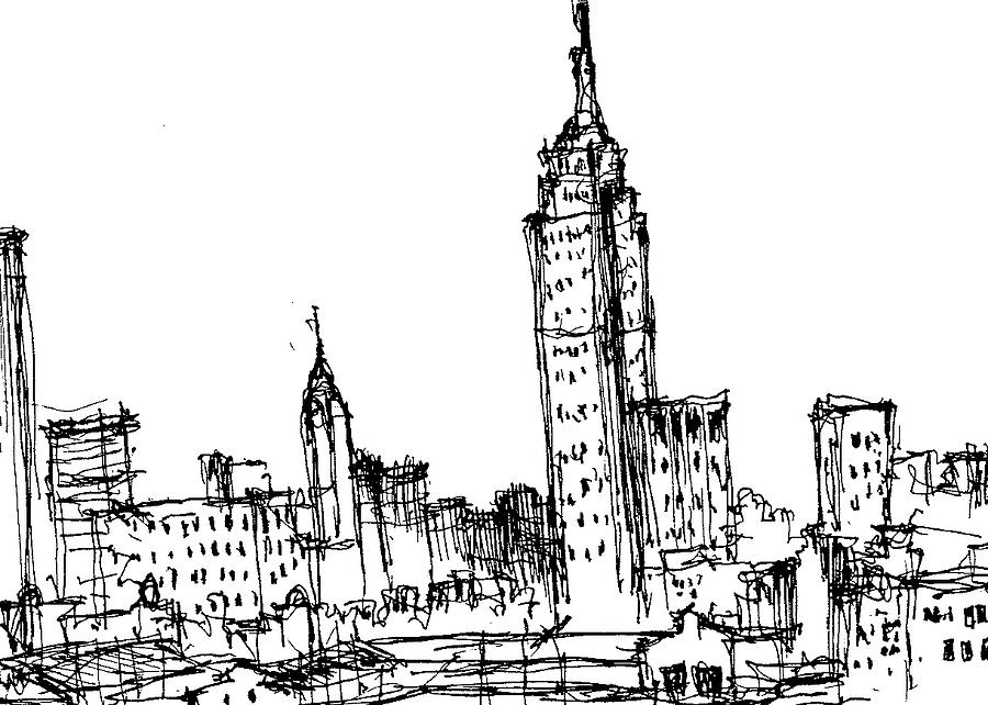 New York City Drawing - Empire State Building  by Jason Nicholas