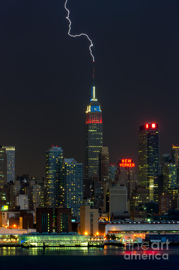 Clarence Holmes Photograph - Empire State Building Lightning Strike I by Clarence Holmes