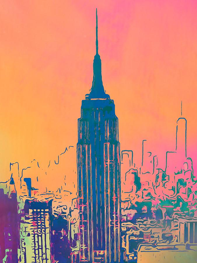 Empire State Building Pop Art Digital Art By Dan Sproul