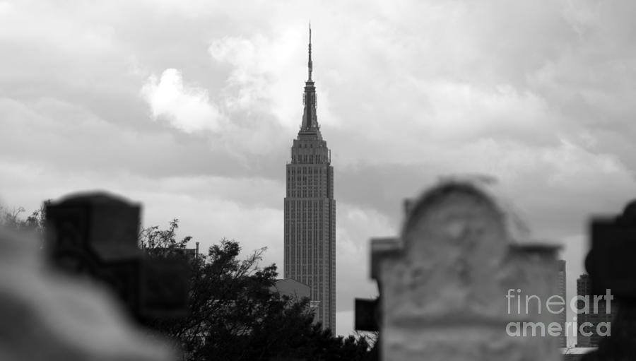 Empire State Building Photograph - Empire State Building Seen From Calvary Cemetery In Queens by Mark Thomas