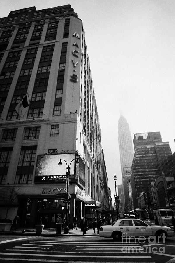 Usa Photograph - Empire State Building Shrouded In Mist As Pedestrians Crossing Crosswalk On 7th Ave New York by Joe Fox