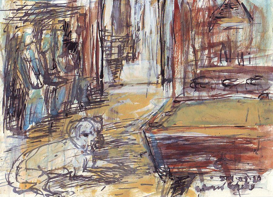 New Drawing - Empty Bar with Dog and Pool Table by Edward Ching