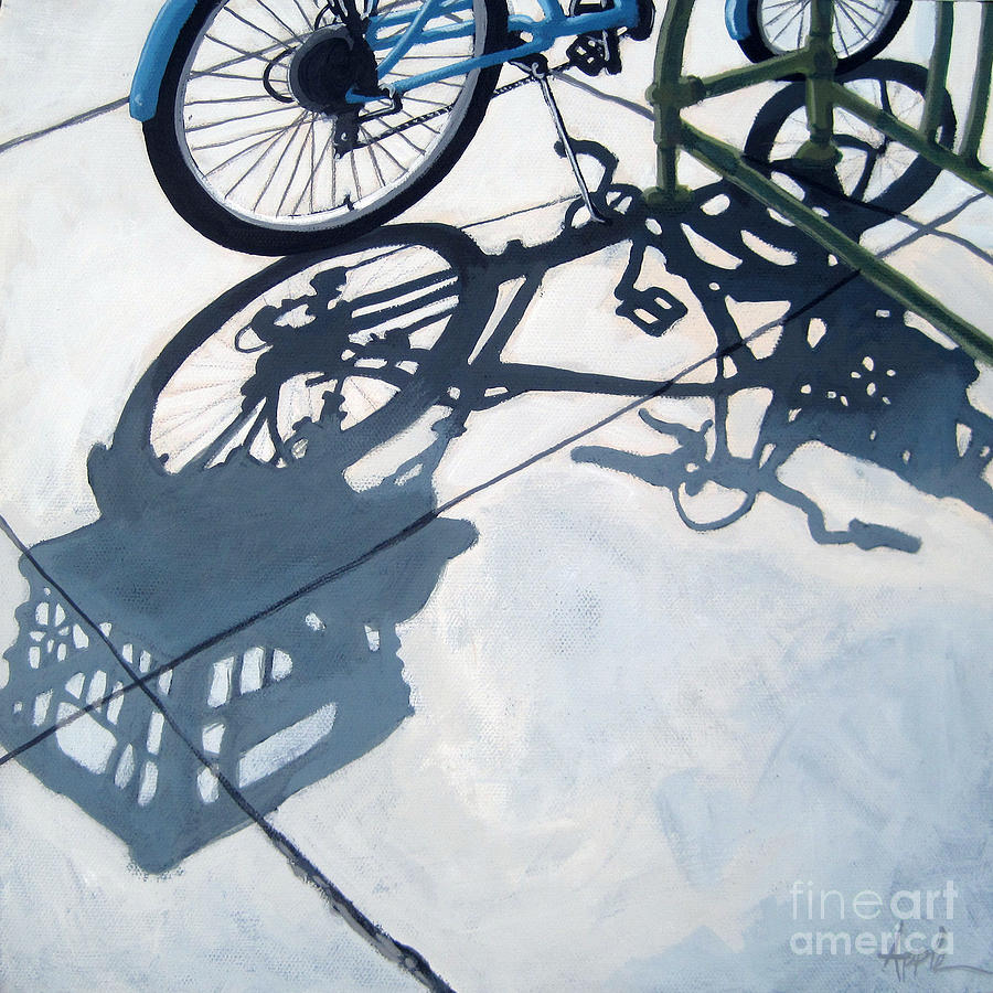 Bicycle Painting - Empty Baskets by Linda Apple