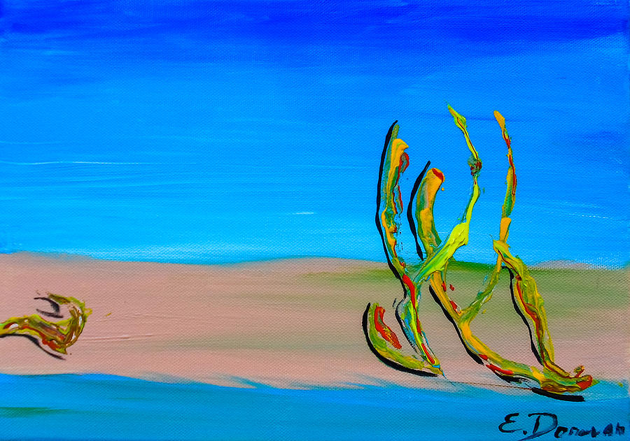 Abstract Painting - Empty Beach in Tel Aviv Abstract Seascape by Eliza Donovan