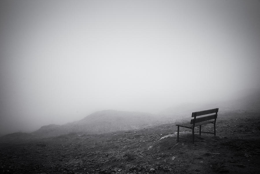 Empty Bench In The Fog Black And White Photo Photograph By