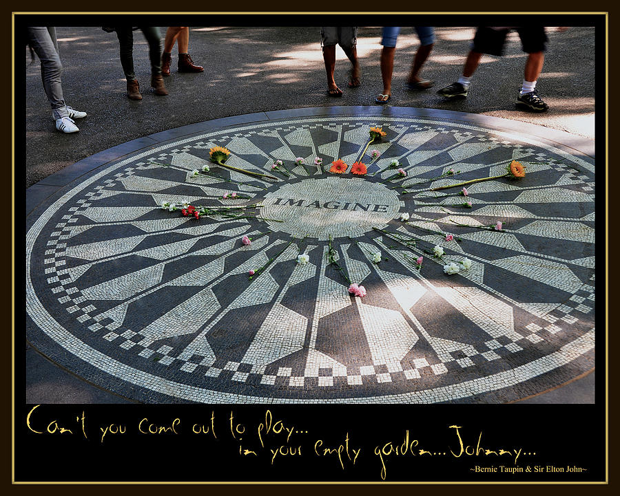 John Lennon Beatles Tribute Rock And Roll Music Strawberry Fields Imagine  Photograph - Empty Garden by Marie  Gale