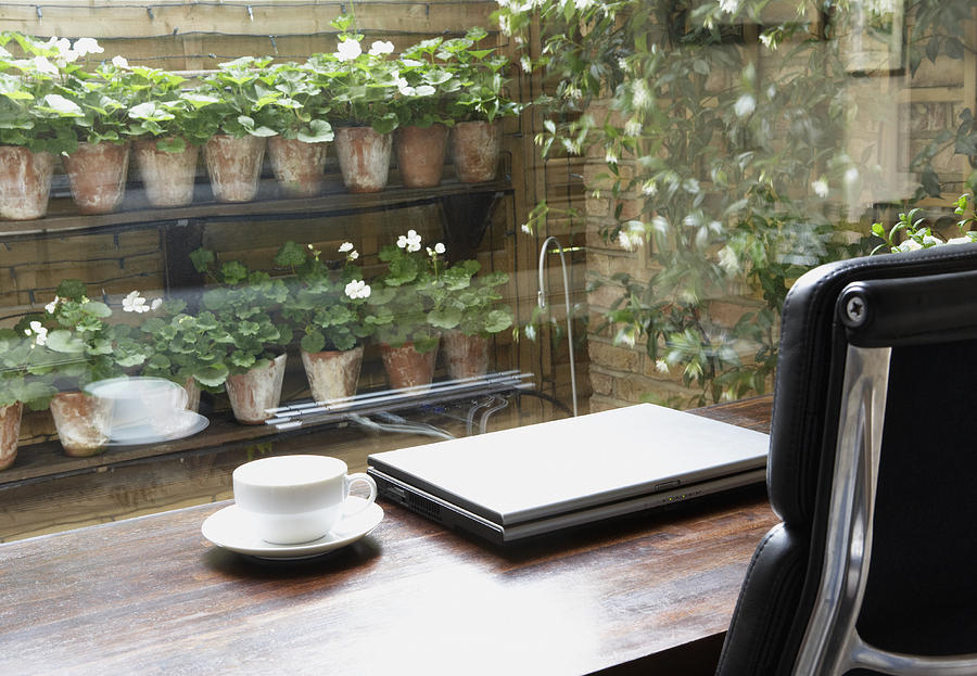 Empty home office with mug on desk and garden outdoors Photograph by Martin Barraud