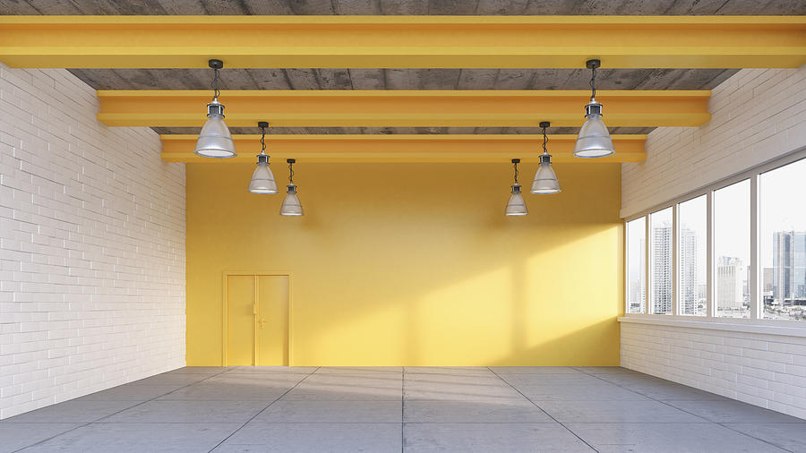 Empty loft with yellow wall, 3D Rendering Drawing by Westend61