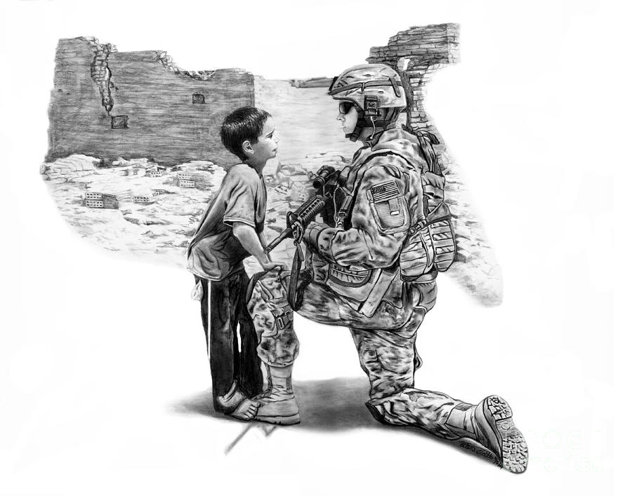 Combat Drawing - Empty Pockets  by Peter Piatt
