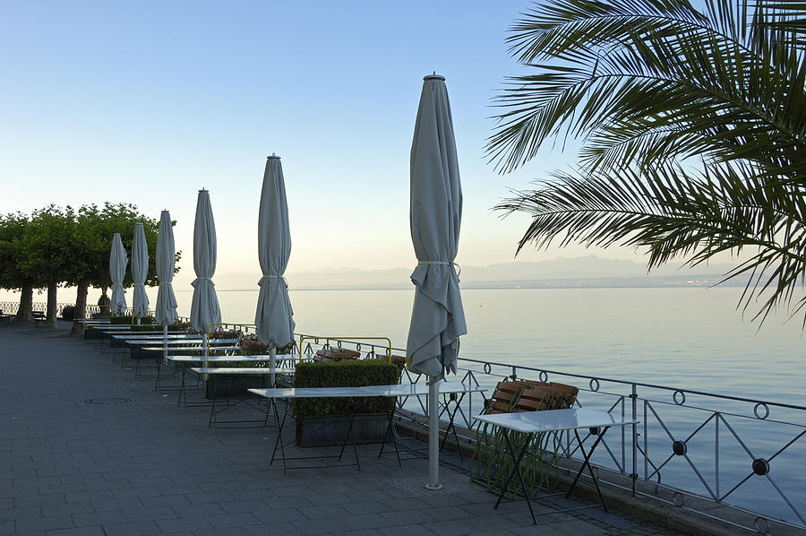 Bodensee Photograph - Empty Promenade In The Morning Meersburg Lake Constance by Matthias Hauser