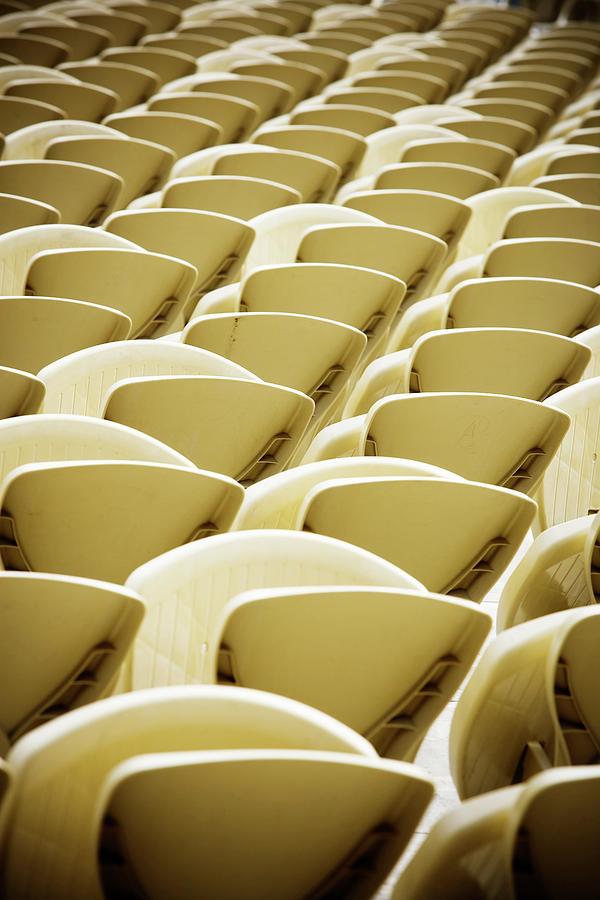 Absence Photograph - Empty Stadium Seating by Ron Koeberer
