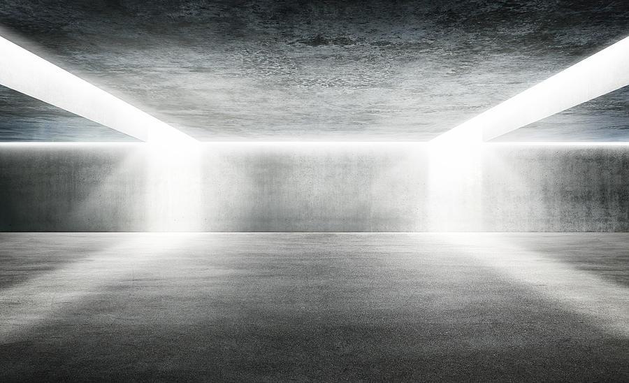 Empty Underground Parking Lot Digital Art by Aaron Foster