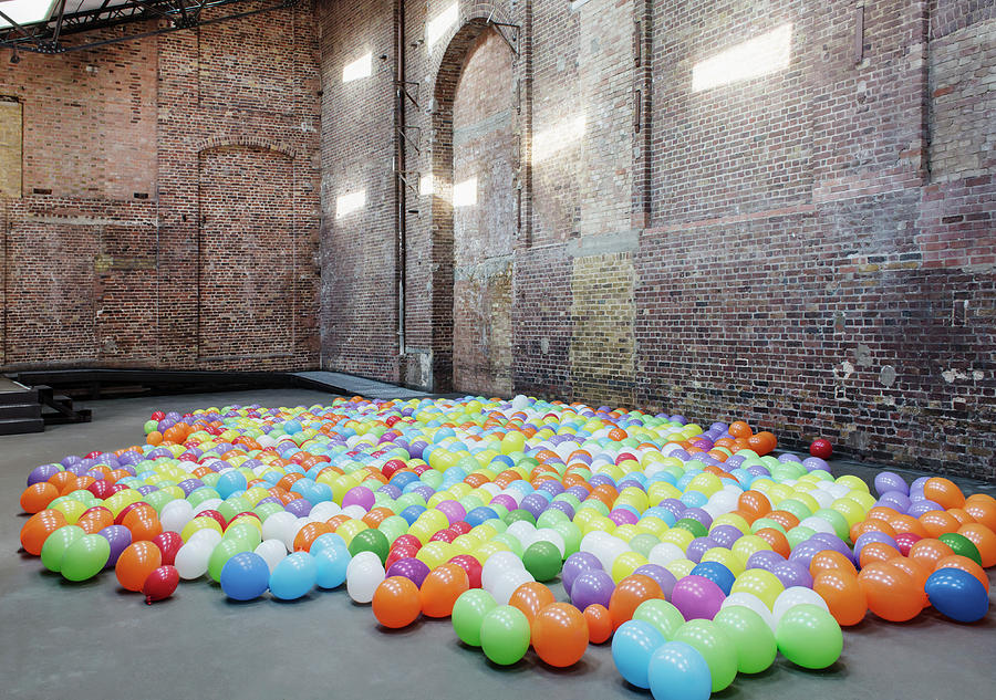 Empty Warehouse With Colourful Balloons Photograph by Anthony Harvie