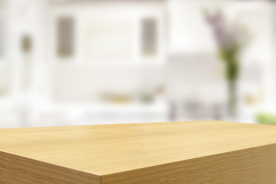 Empty Wooden Table And Blurred Kitchen Background By Pannawat