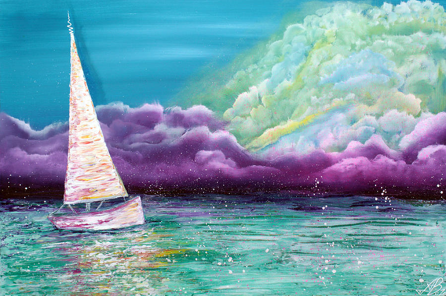 Boat Painting - Enchanted Voyage by Laura Barbosa