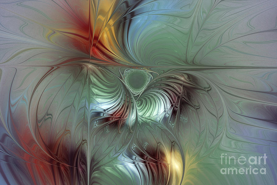 Abstract Digital Art - Enchanting Flower Bloom-abstract Fractal Art by Karin Kuhlmann