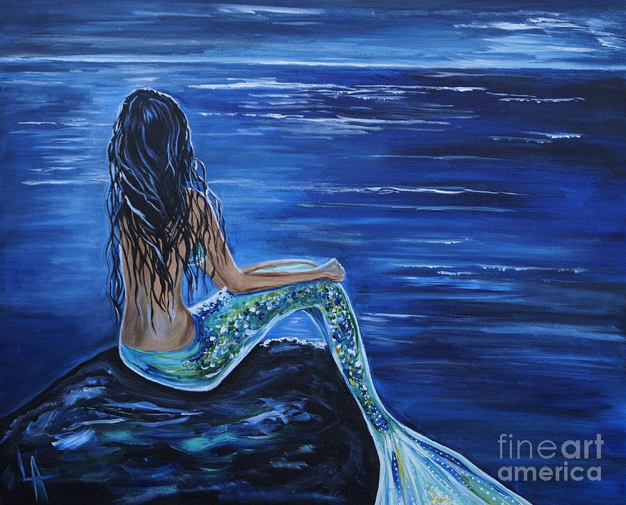 Mermaid Painting - Enchanting Mermaid by Leslie Allen